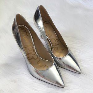 Sam Edelman Silver Metallic Point Toe Heels